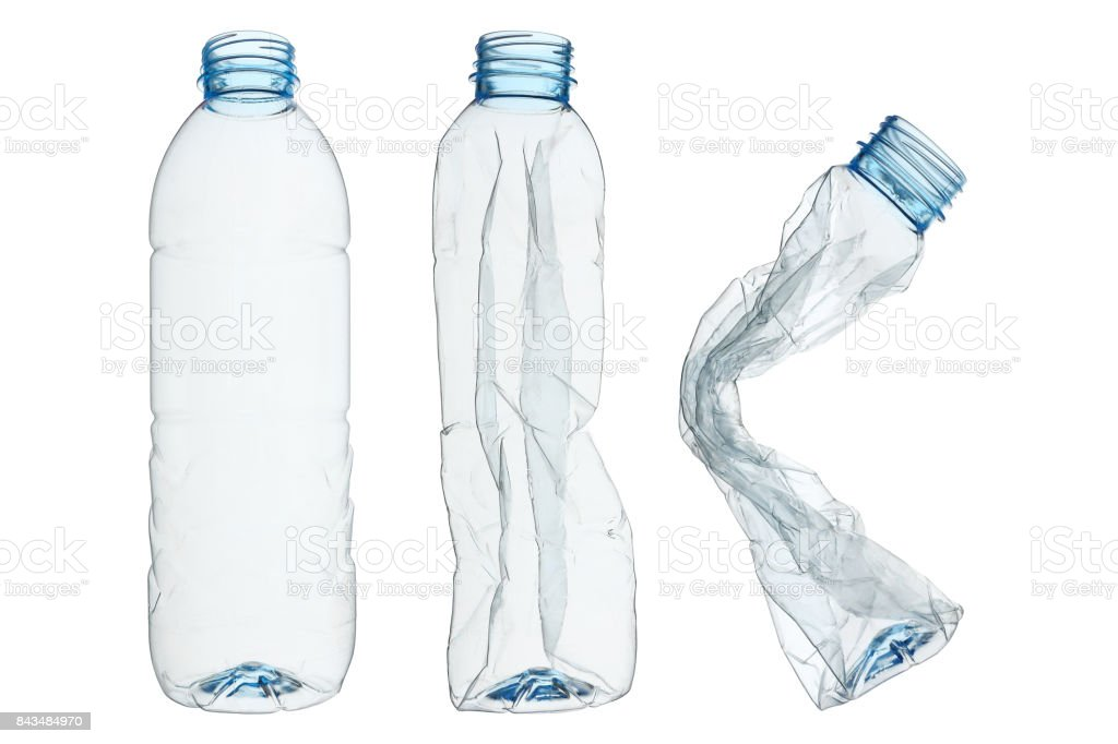 set of recycled plastic bottles isolated on white - foto stock