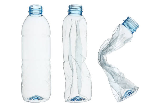 set of recycled plastic bottles isolated on white - plastic stock pictures, royalty-free photos & images