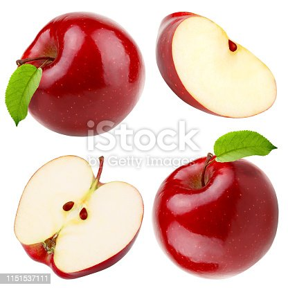 Set of red apple whole pieces isolated on white background as a package design element