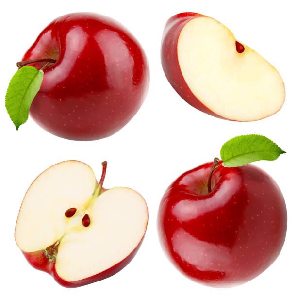 set van rode appel hele stukken geïsoleerd op witte achtergrond - appel stockfoto's en -beelden