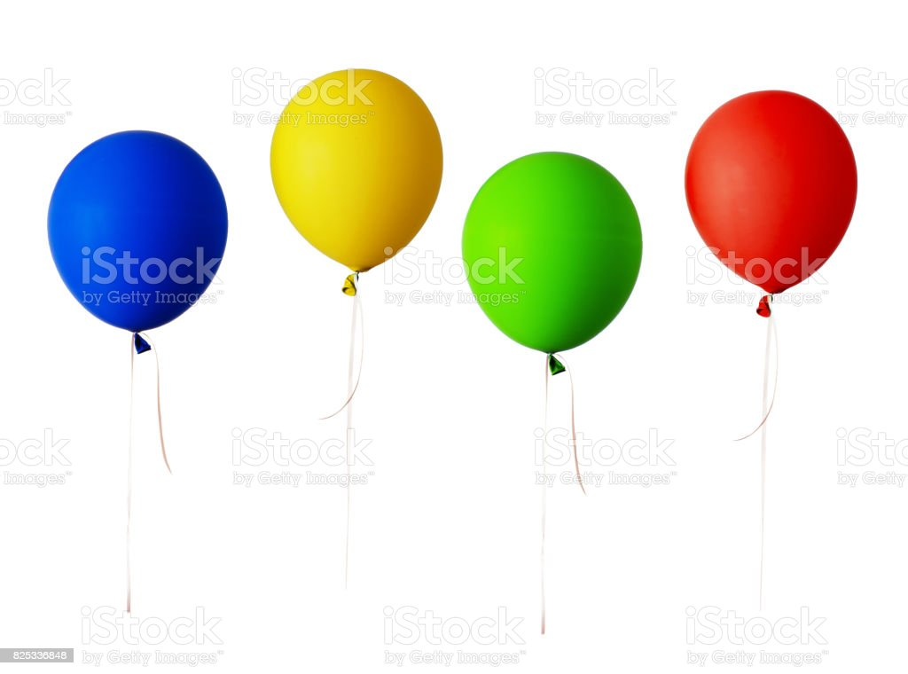 Set of red, blue, green and yellow balloons stock photo