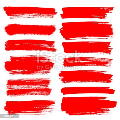 850235550 istock photo Set of red brush strokes 850415172