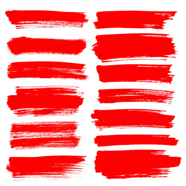 Set of red brush strokes stock photo