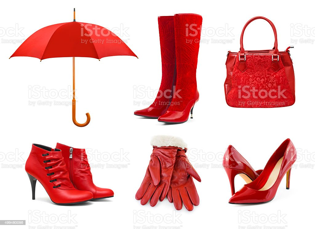 Set of red clothing and accessories stock photo
