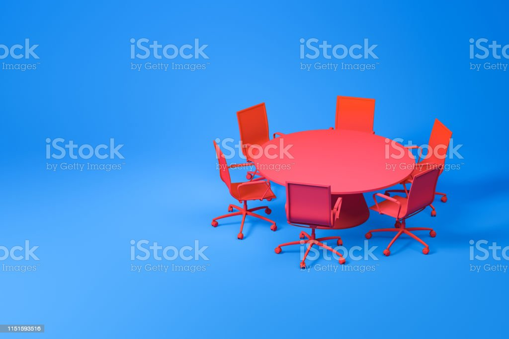 Set of meeting room furniture consisting of red round table with...