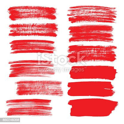 850235550 istock photo Set of red flat brush strokes 850246058