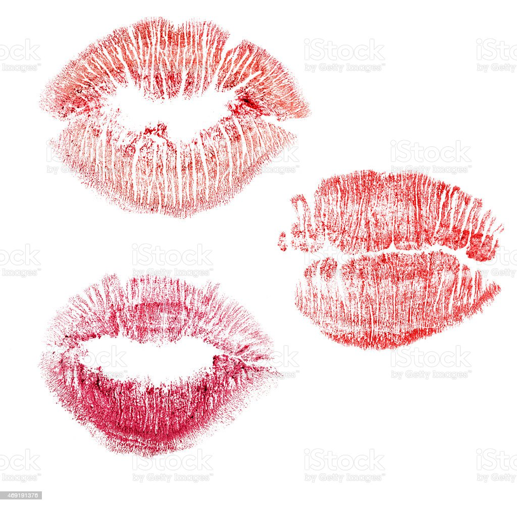 set of red lips imprint isolated on white stock photo