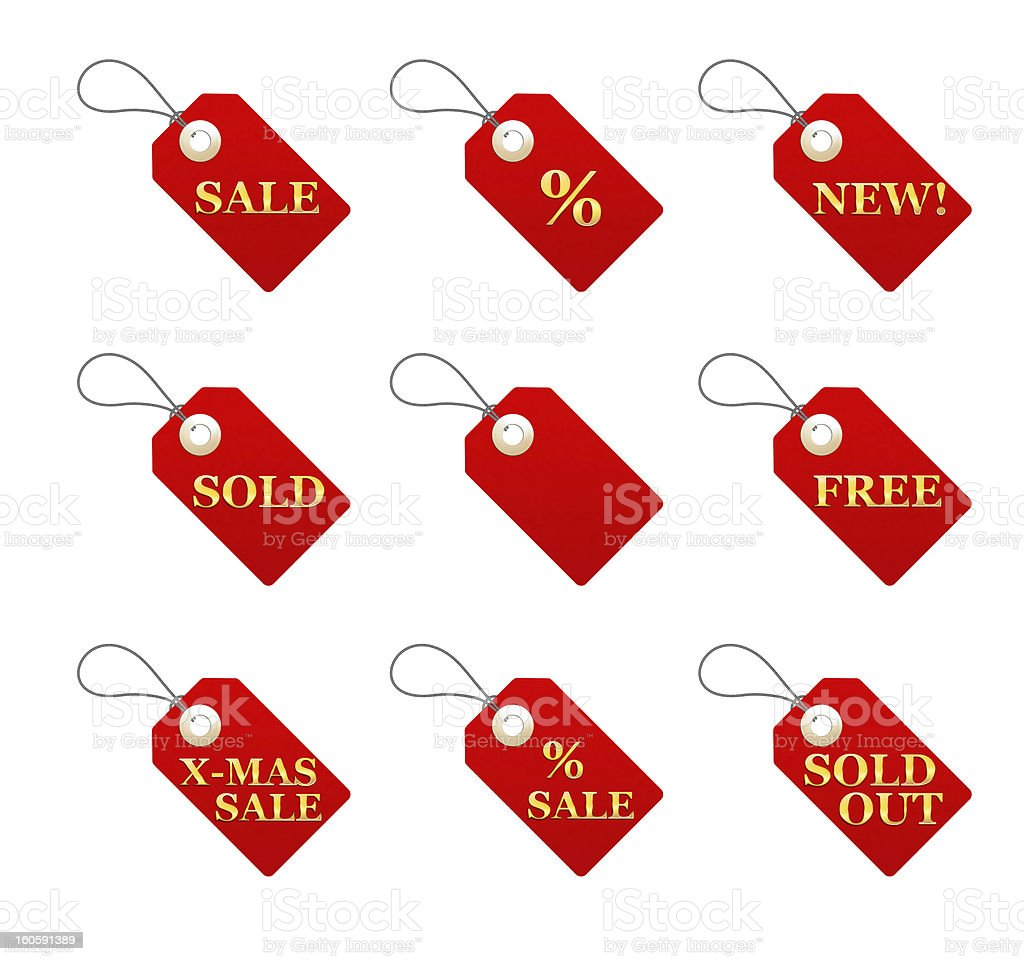 Set of red price tags isolated on white Christmas shopping royalty-free stock photo
