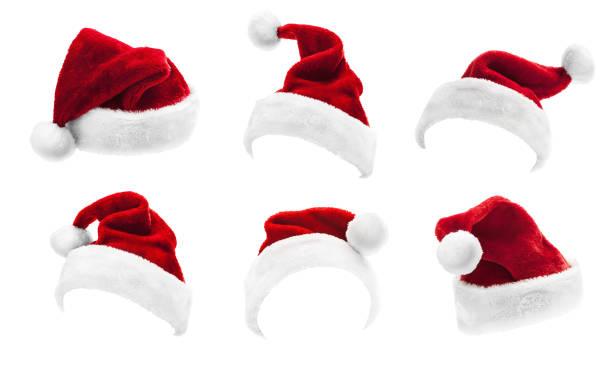set van rode santa claus hoeden geïsoleerd - hoed stockfoto's en -beelden