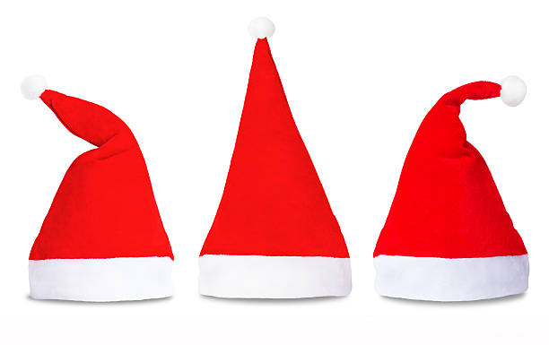 Set of red Santa Claus hats isolated stock photo