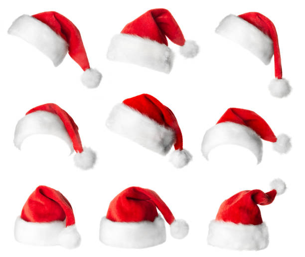 set of red santa claus hats - santa hat stock pictures, royalty-free photos & images