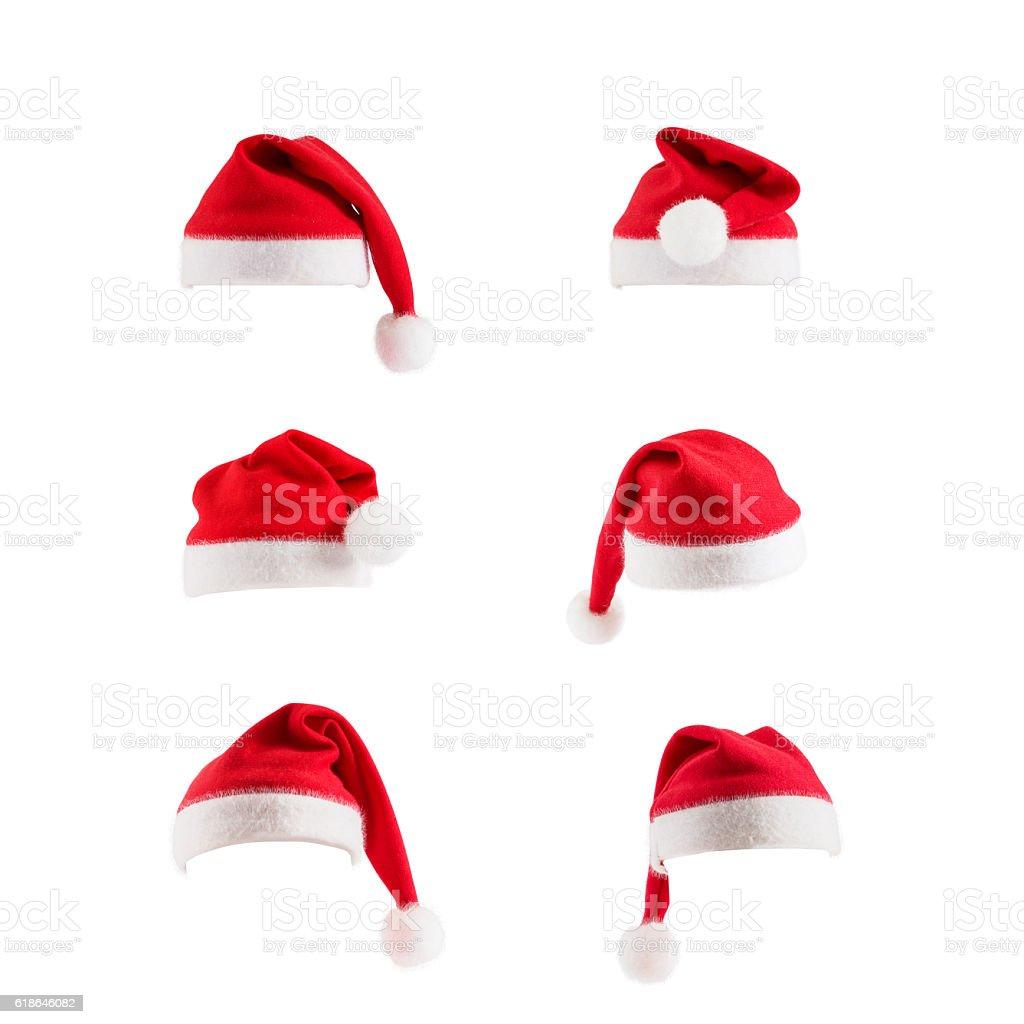 Set of red Santa Claus hats stock photo
