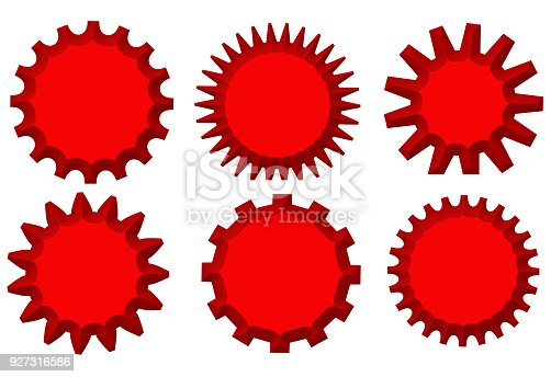 istock Set of red starburst stamps on white background. Badges and labels various shapes.3d illustration 927316586