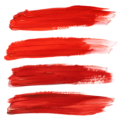 Set Of Red Stroke Brushes Isolated On White Stock Photo - Download Image Now