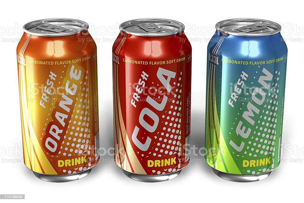 Set of refreshing soda drinks in metal cans stock photo
