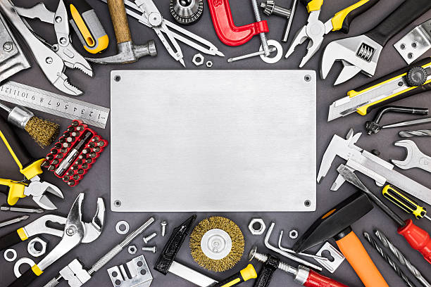 set of renovation and working tools on DIY table background stock photo