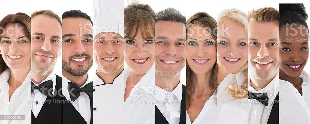 Set Of Restaurant Staff stock photo