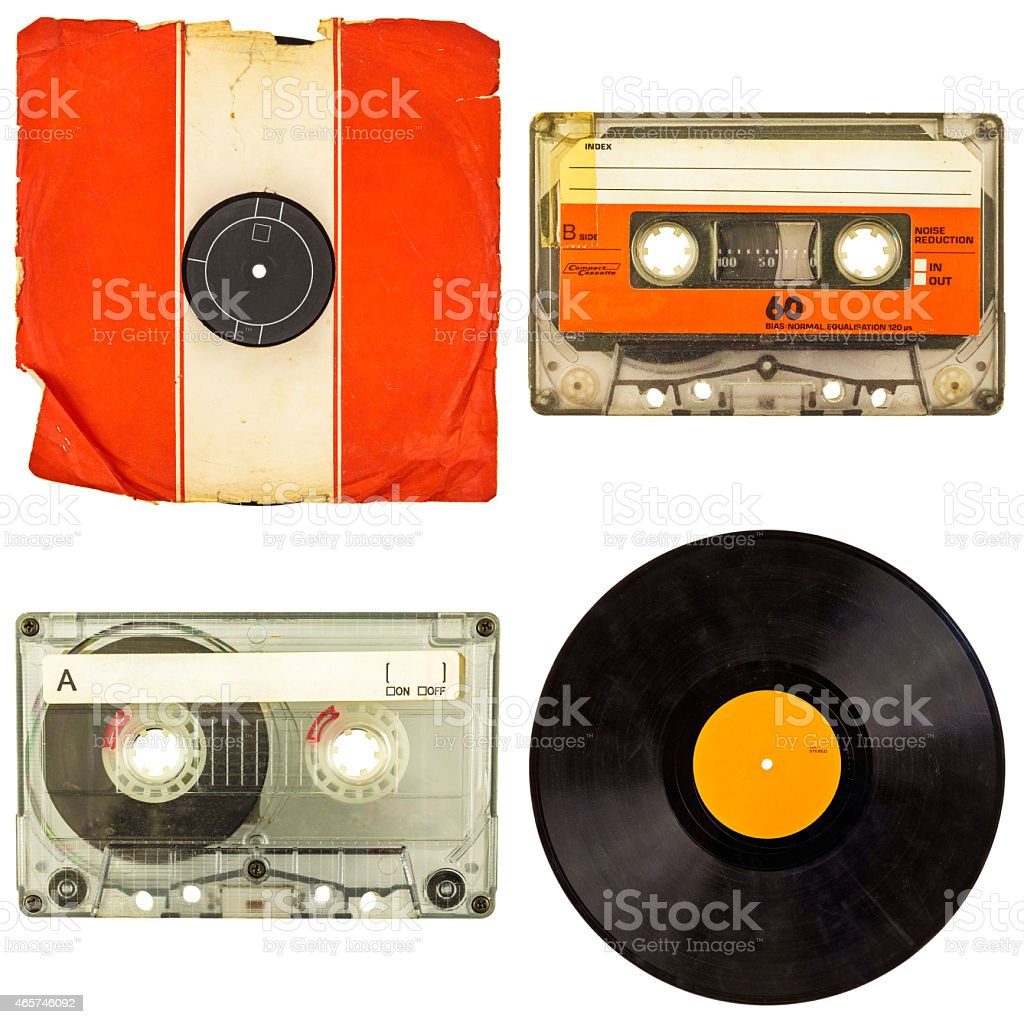Set of retro compact cassettes and vinyl albums stock photo
