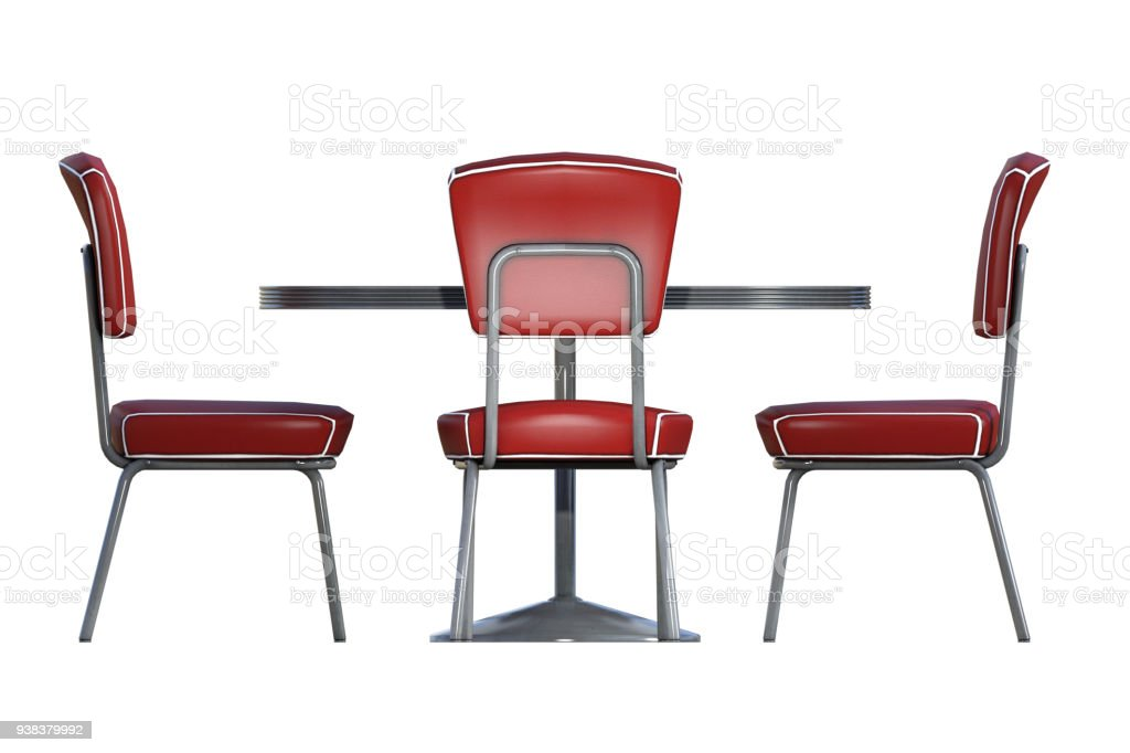 Fantastic Set Of Retro Diner Chairs And Table Isolated On White 3D Pabps2019 Chair Design Images Pabps2019Com