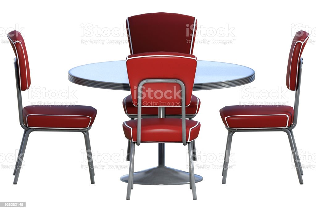 Astonishing Set Of Retro Diner Chairs And Table Isolated On White 3D Pabps2019 Chair Design Images Pabps2019Com