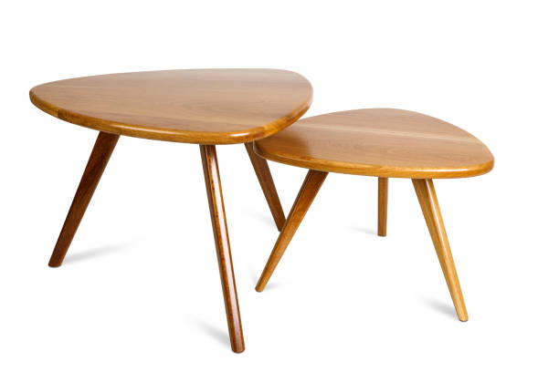 set of retro wooden coffee table on white background ,included clipping path - coffee table imagens e fotografias de stock