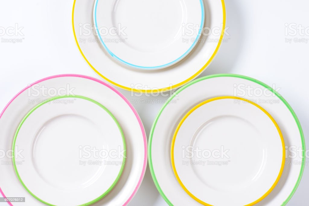 set of rimmed plates stock photo