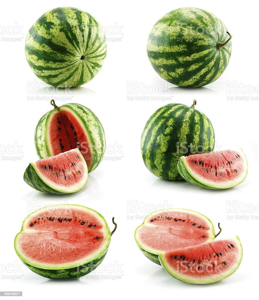 Set of Ripe Green Watermelon Isolated on White royalty-free stock photo