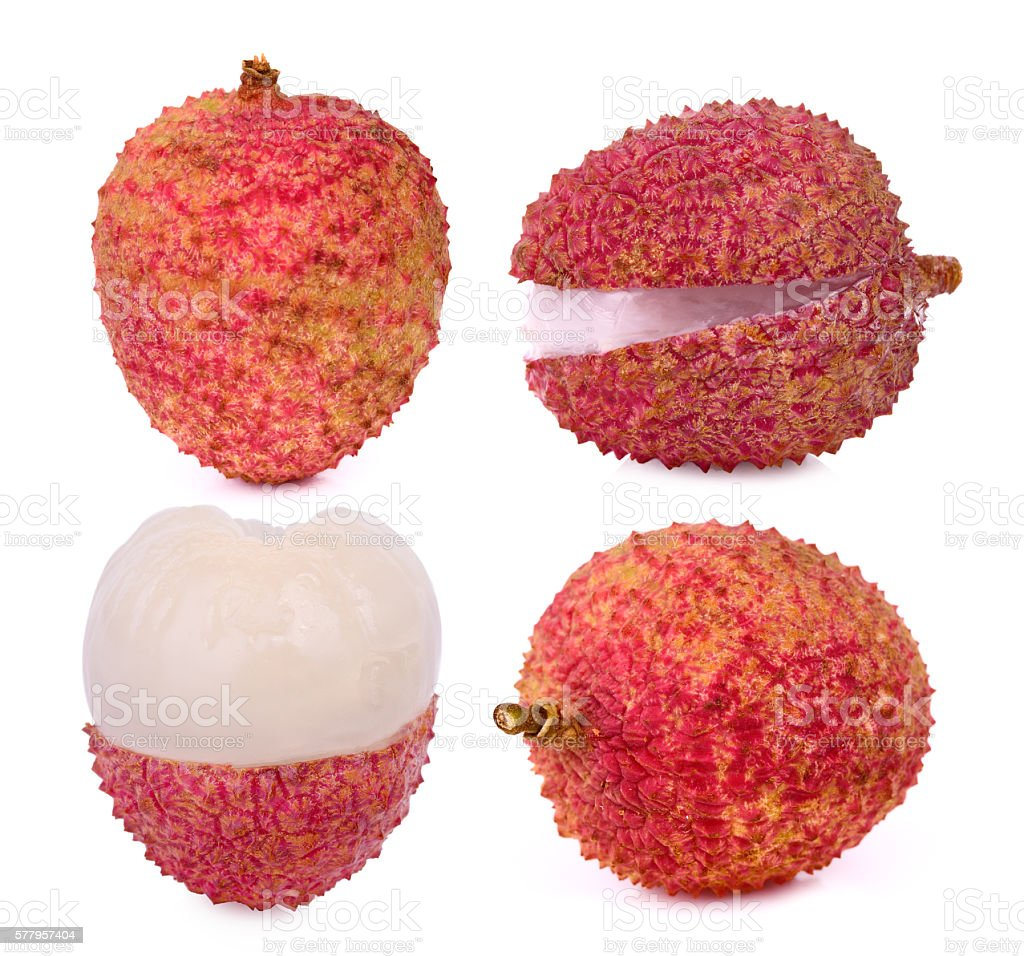 set of ripe lychee isolated on white background stock photo