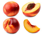 Set of ripe nectarine whole, half and slice on a white background. Isolated.