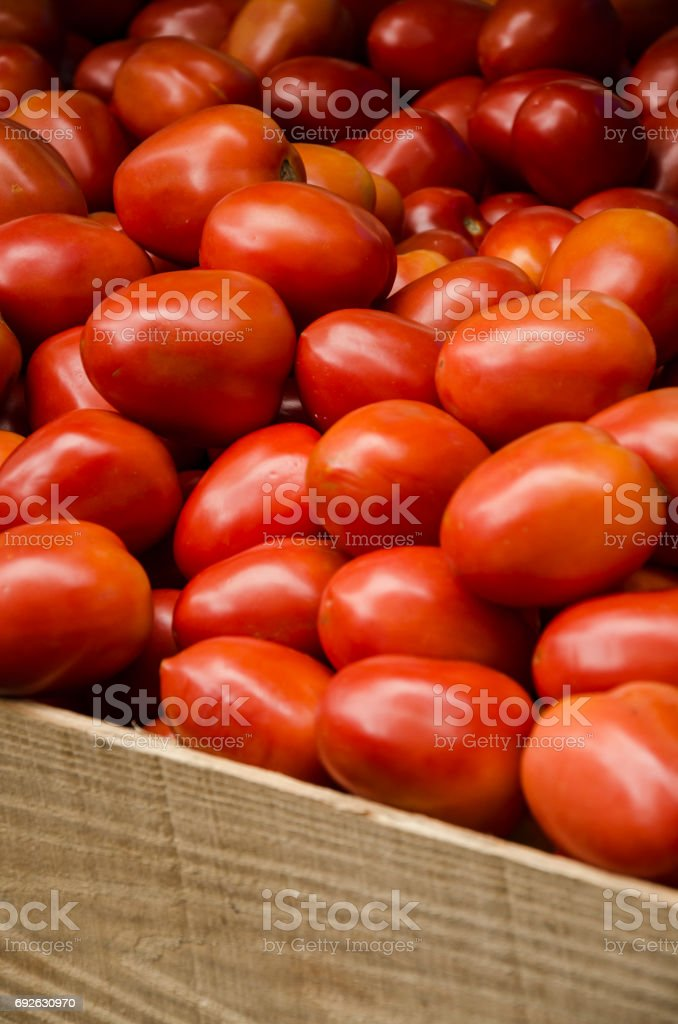 Conjunto de tomates maduros, expostos na tenda do mercado livre - foto de acervo