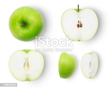 Set of ripe whole and half and slice green apples isolated on white background with clipping path