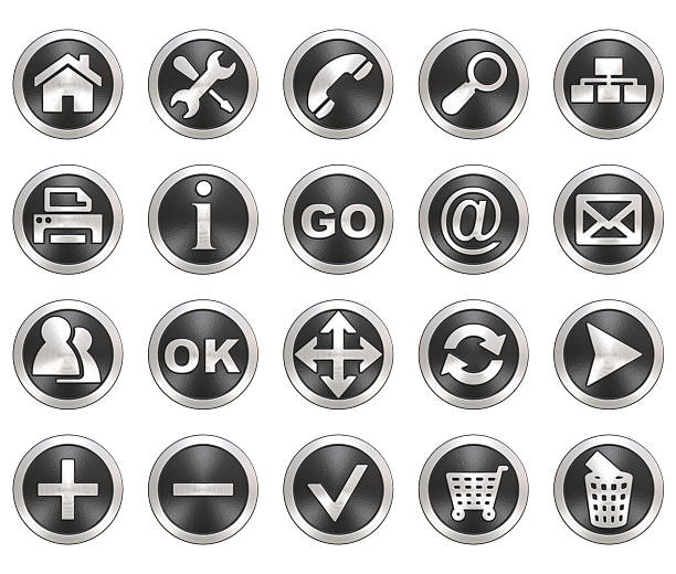 Set of round gray and silver web icons stock photo