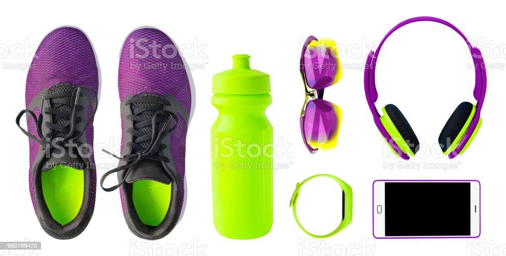 Conjunto de zapatillas y accesorios foto de stock libre de derechos