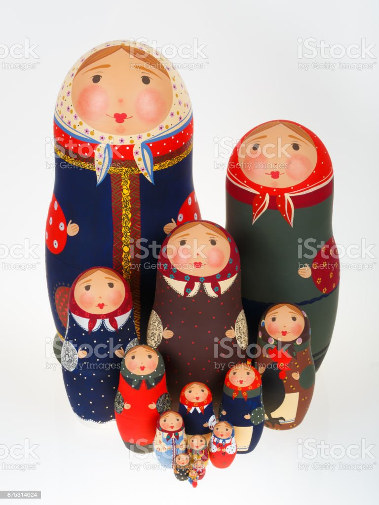 Set of Russian dolls babushka matryoshka isolated on white stock photo