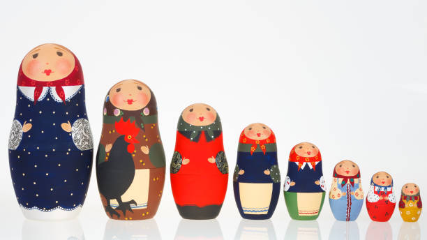 Set of Russian dolls babushka matryoshka lined up isolated on white stock photo