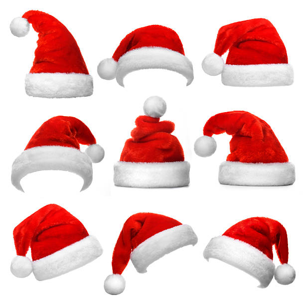set of santa claus red hats isolated on white background - santa hat stock pictures, royalty-free photos & images