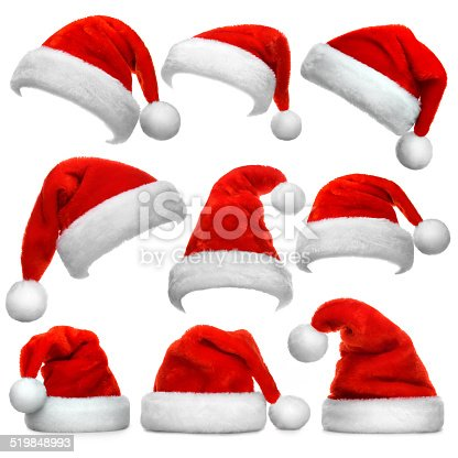 istock Set of Santa Claus red hats isolated on white background 519848993