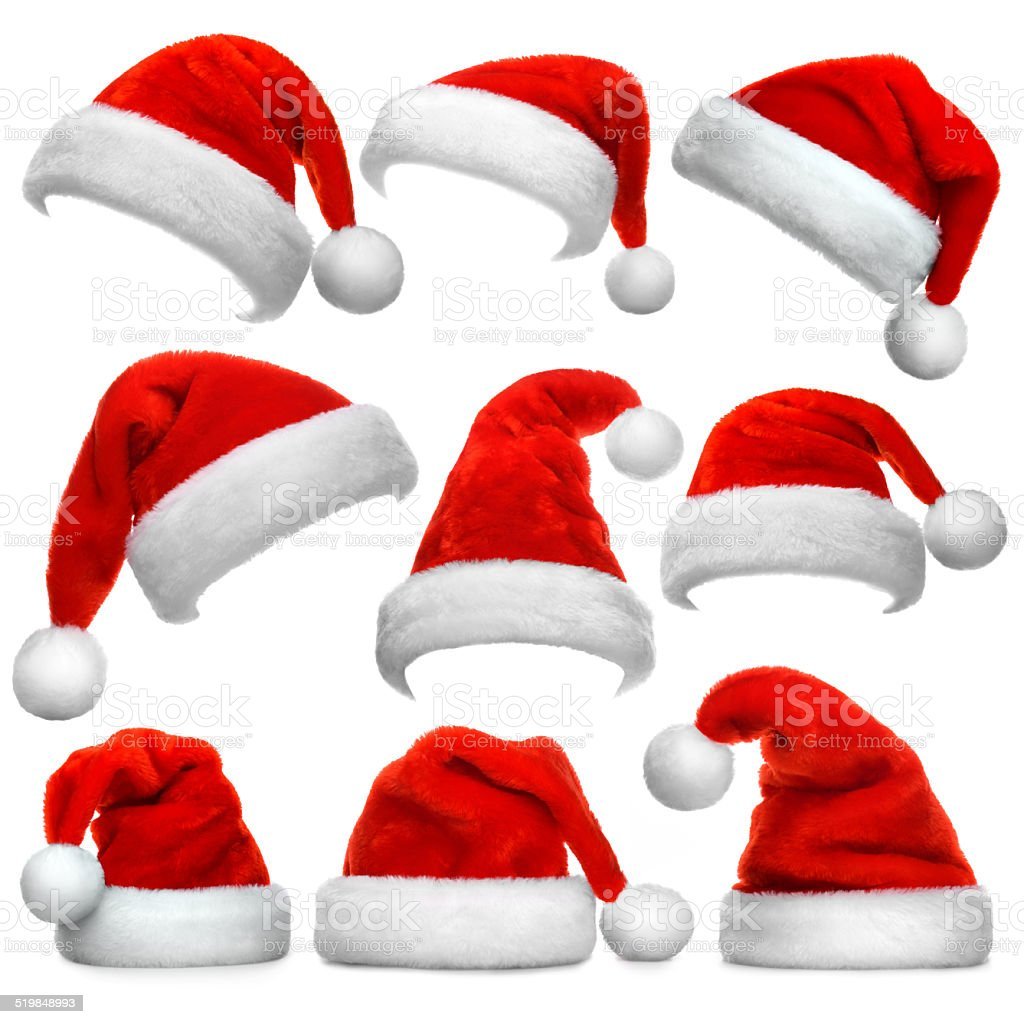 Set of Santa Claus red hats isolated on white background stock photo