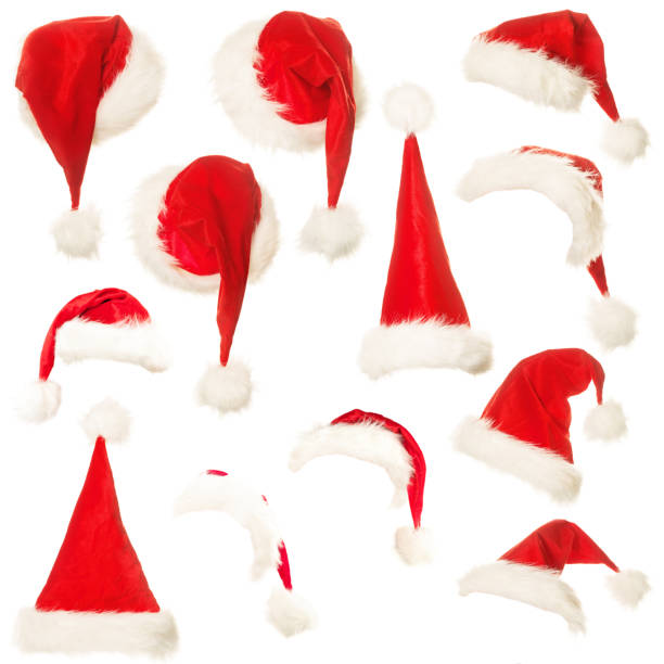 Set of Santa Hat Isolated on White Background Set of Santa Hat Isolated on White Background santa hat stock pictures, royalty-free photos & images