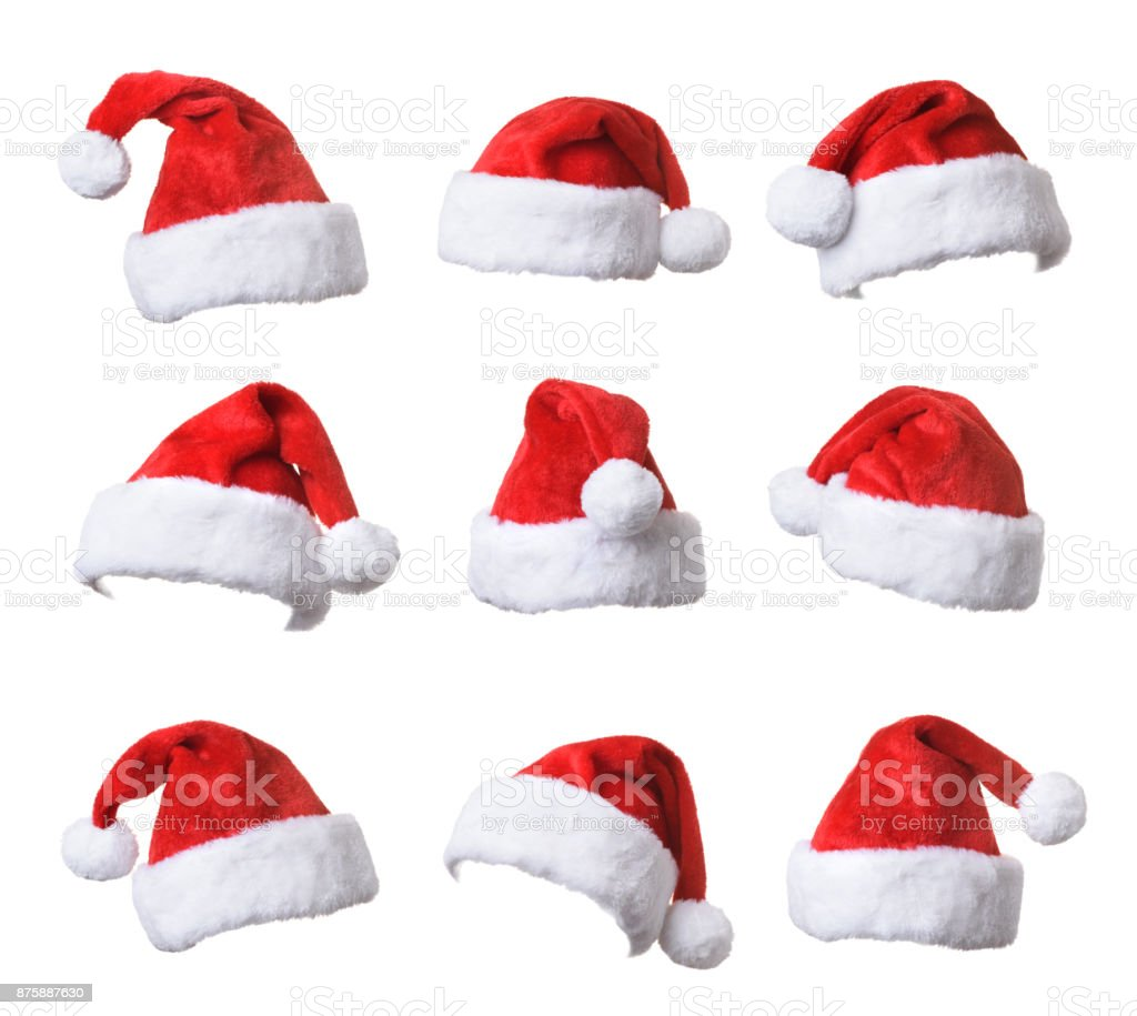 Set of Santa's red hat isolated on white background stock photo