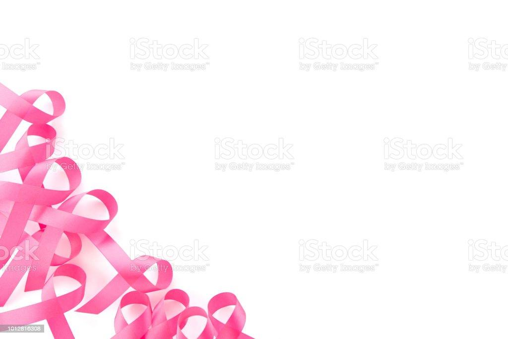 Set Of Satin Pink Ribbon Symbols Border Design Breast Cancer
