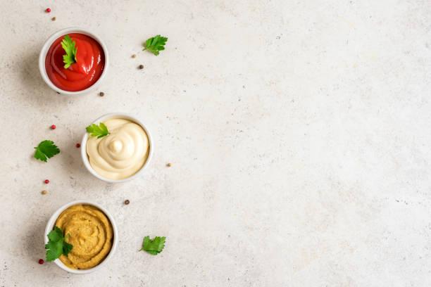 Set of sauces stock photo
