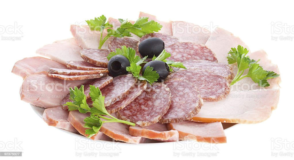 set of sausage on plate royalty-free stock photo
