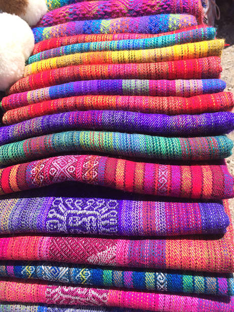 Set of scarves at the textiles market stock photo