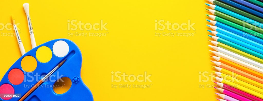 Set of school and preschool childrens accessories royalty-free stock photo