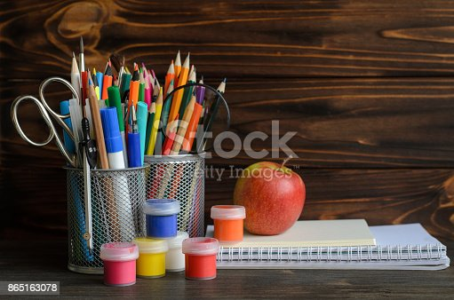 istock Set of school stationary for creative writing and drawing, copy space, back to school concept 865163078