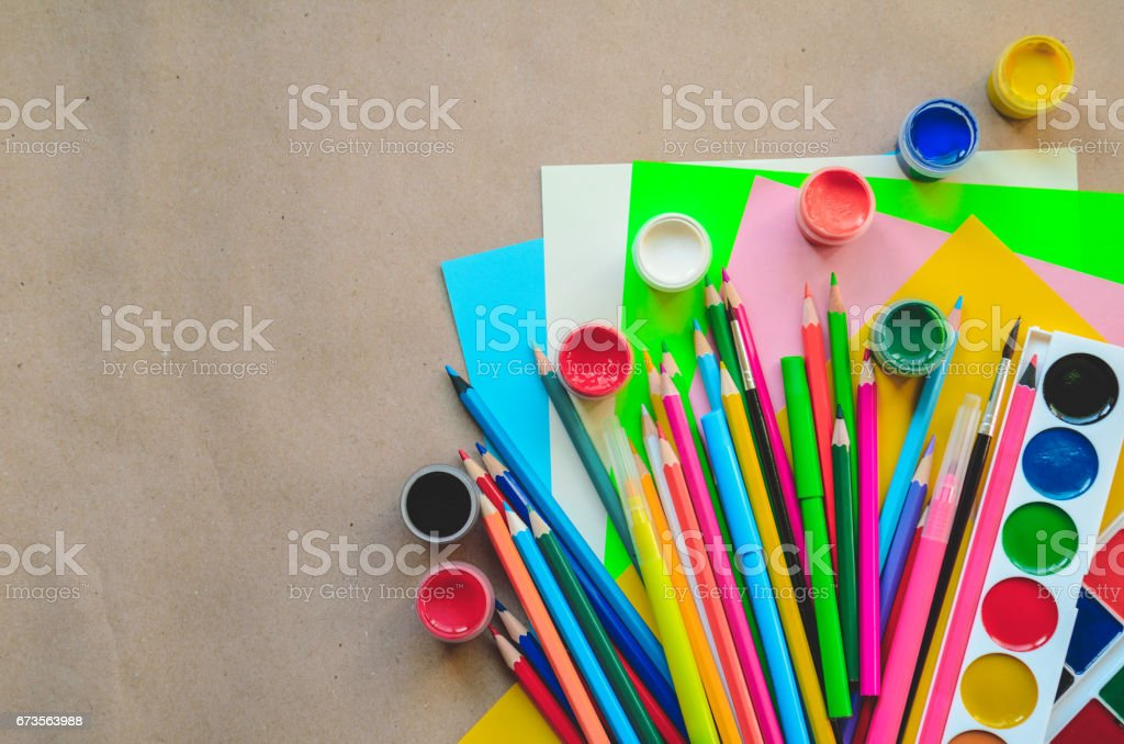 Set of school stationary supplies for creative writing and drawing, copy space, toned photo, back to school concept royalty-free stock photo