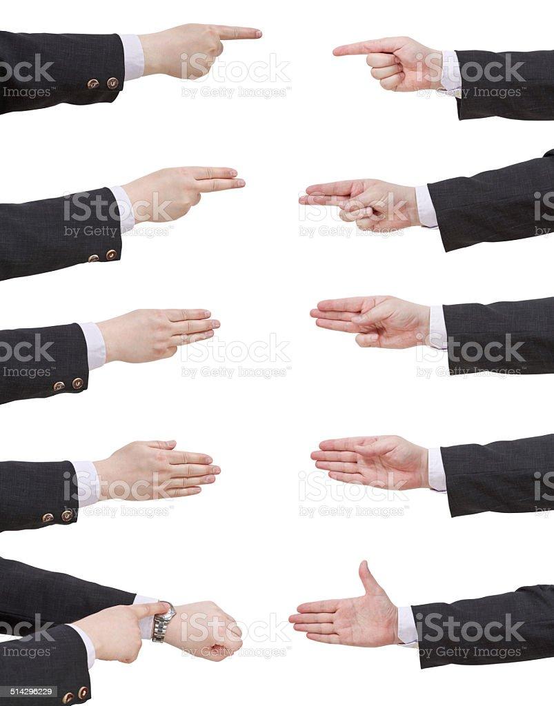 set of scoring businessman hand stock photo