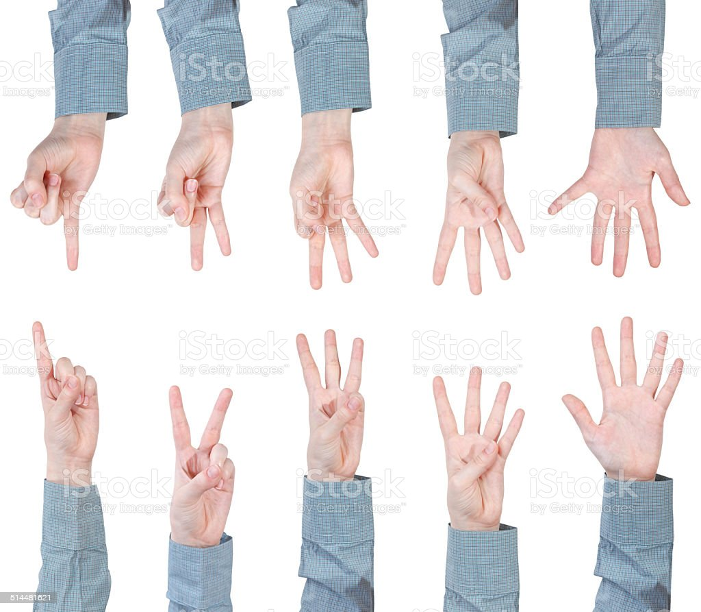 set of scoring female hands - gesture stock photo
