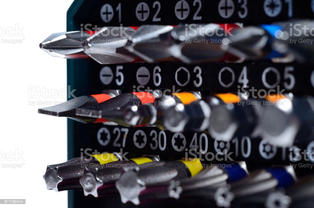 Set of screwdriver bits in box. stock photo